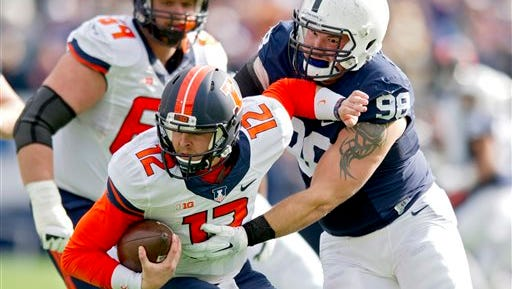 Penn State defensive tackle Anthony Zettel sacks Illinois quarterback Wes Lunt recently. Zettel is one of interesting characters on PSU's quirky, but effective, defensive line.