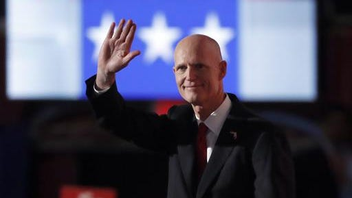 Florida Gov. Rick Scott speaks during the third day of the Republican National Convention in Cleveland, Wednesday, July 20, 2016.