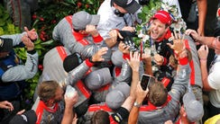 Will Power and crew celebrate winning Sunday's Indianapolis