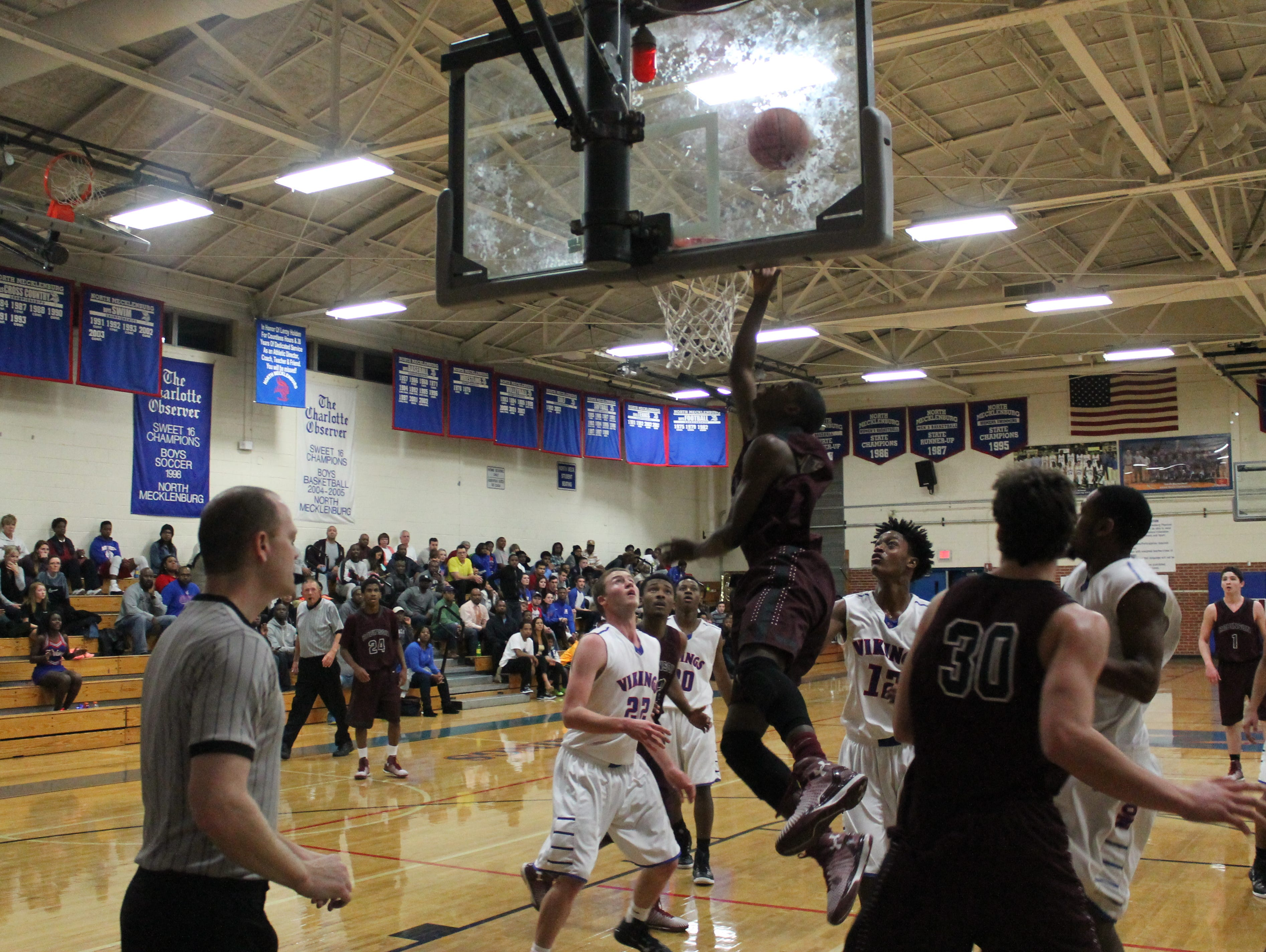 Lavar Batts Jr. uses the glass for a second-half layup.