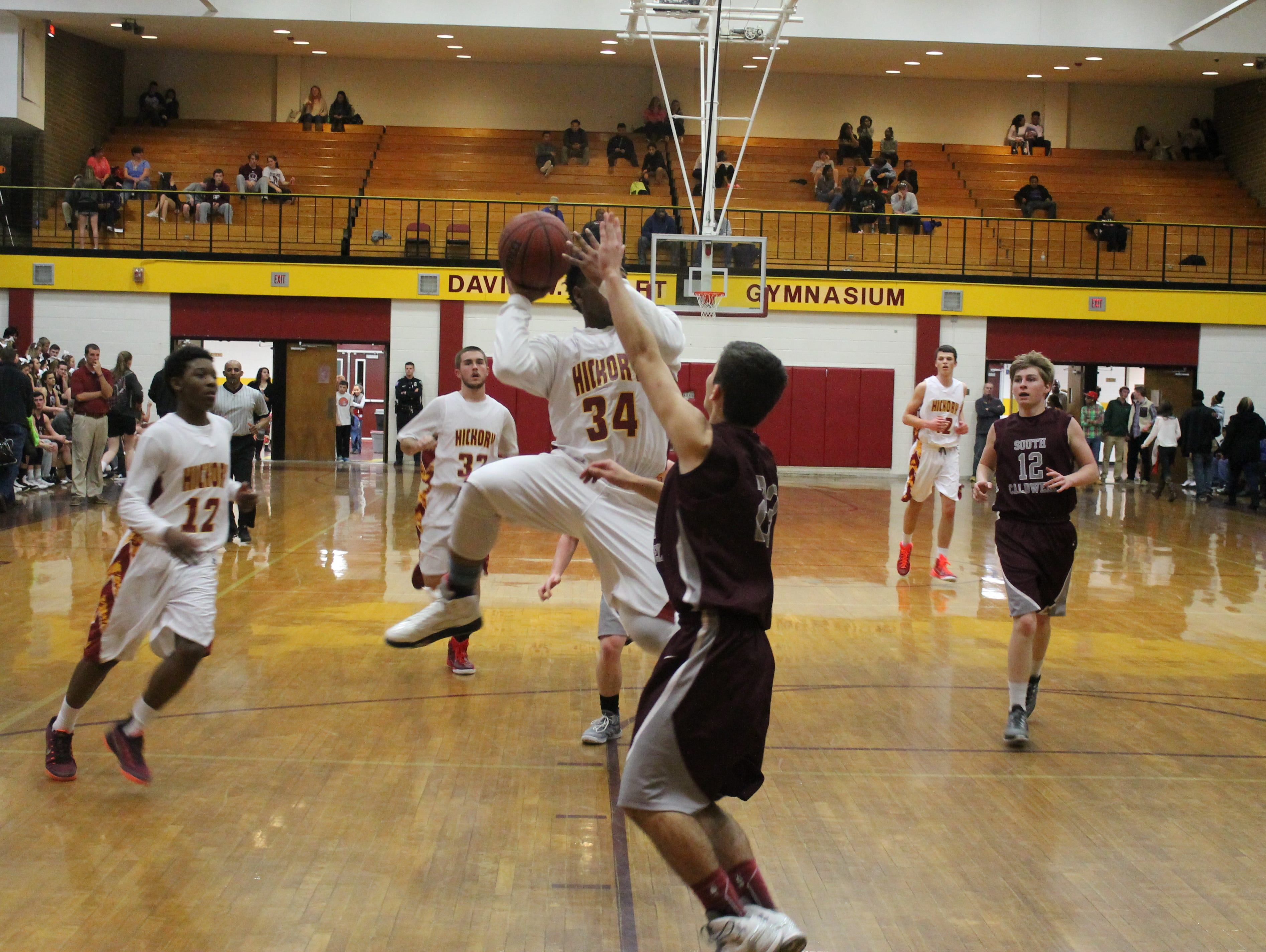 Brandon Walker goes up for a shot in the fourth quarter of Hickory's game against South Caldwell.