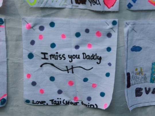 A project made by a child at Camp Firefly in Medford in memory of their later father.