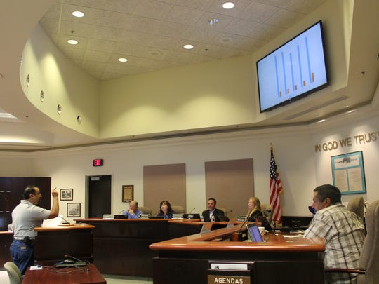 City Commission listens to Alamogordo resident Paul Sanchez during the public comment portion of Tuesday's meeting.