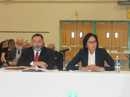 Director of Administrative Office of the Courts Arthur W. Pepin and New Mexico Supreme Court Chief Justice Barbara J. Vigil discuss budget issues and proposed legislation at the New Mexico State University-Alamogordo Tays Center on Thursday.