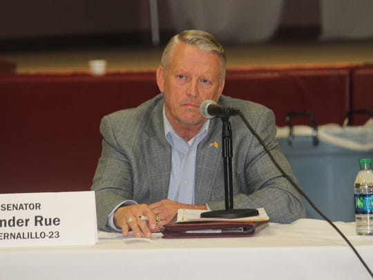 Sen. Sander Rue, R-Bernalillo-23, listened as members of the Courts, Corrections and Justice Committee presented their argument for bail system reform at the New Mexico State University-Alamogordo Tays Center on Thursday. Rue also listened to the response from bondsmen.