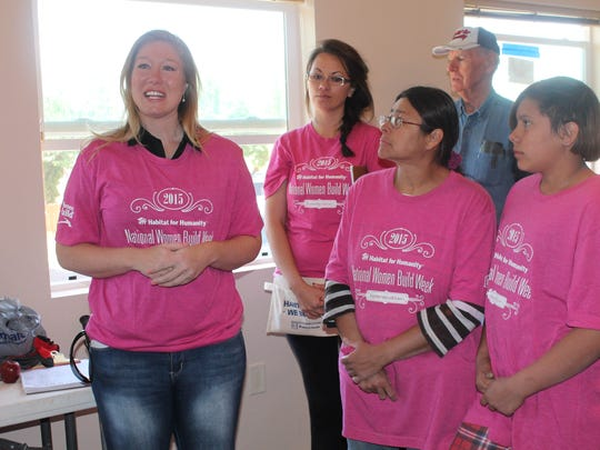Galea speaks during the Otero County Habitat for Humanity's 8th National Women Build Week.