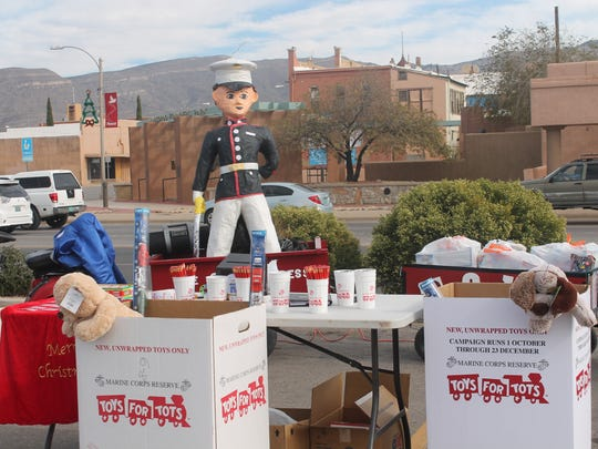 A Toys for Tots collection site at Walgreens, 955 N White Sands Blvd. Volunteers are hoping to collect toys for about 1,500 children throughout Otero County.