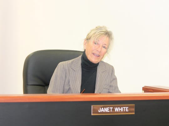County Commissioner Janet White asks questions during the regular County Commission Thursday morning regarding a proposal for a new subdivision in Chaparral.