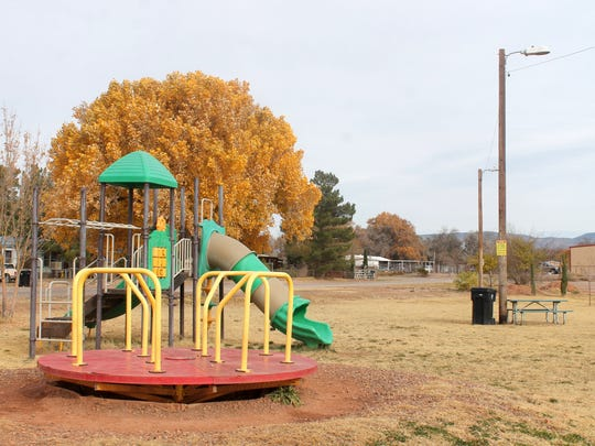The new playground and park behind the Tularosa Little League Field in Tularosa. Keep Tularosa Beautiful received a $20,000 grant from Lowe's Home Improvement to build it.