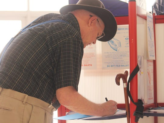 Doug Kerr casts his vote at the Tays Center on Tuesday afternoon. Along with electing a new mayor and City Commissioners, voters passed five amendments to the City Charter.