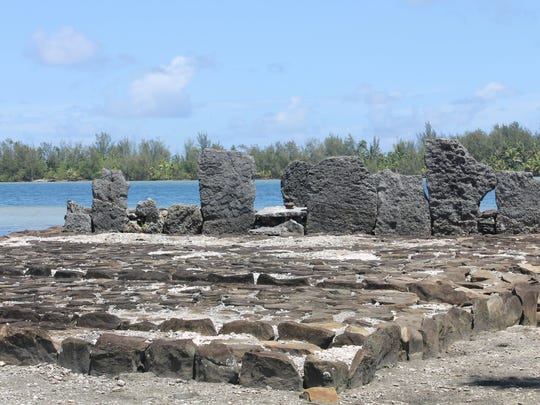 """A reconstruction of a """"marae,"""" or traditional Polynesian"""