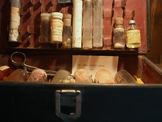 The inside of Dr. O.H. Atkins' former medicine bag,