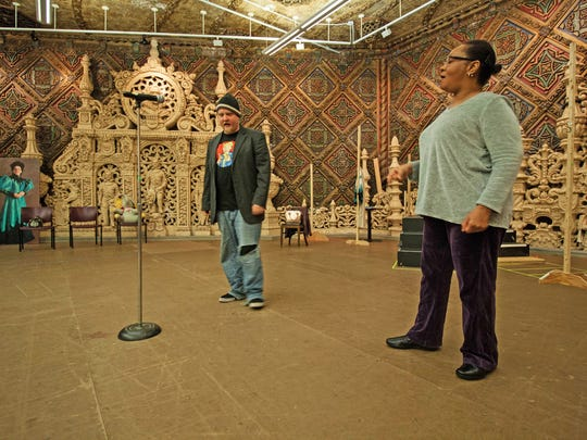 Milicent Wright, right, practices with line coaches during rehearsals for Indiana Repertory Theatre's production of Bridge & Tunnel.
