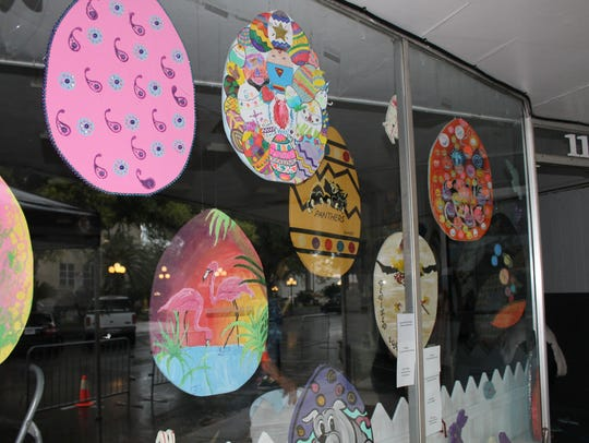 The spring eggs-pressions art exhibit winners were