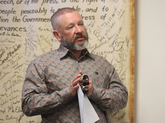 Otero County Sheriff Benny House updates county commissioners on the latest PSAP draft at their regular meeting on March 10.