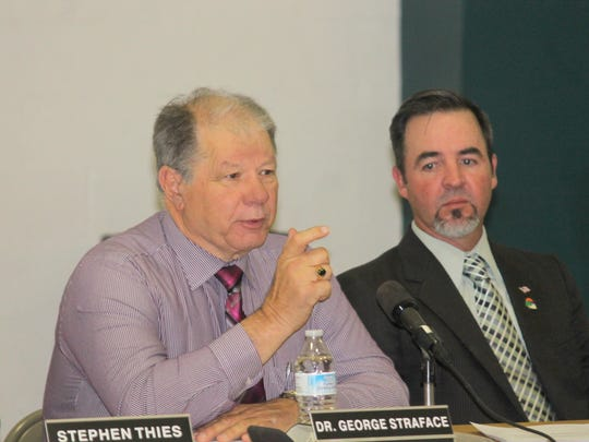 Interim-City Manager George Straface and City Commissioner Jason Baldwin, District 1, asked questions during the PSAP presentation at Monday's special joint meeting with Otero County at the Sgt. Willie Estrada Civic Center.