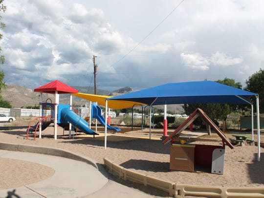 Playground equipment on the HELP-New Mexico property in Alamogordo gives children an outdoors venue to play.