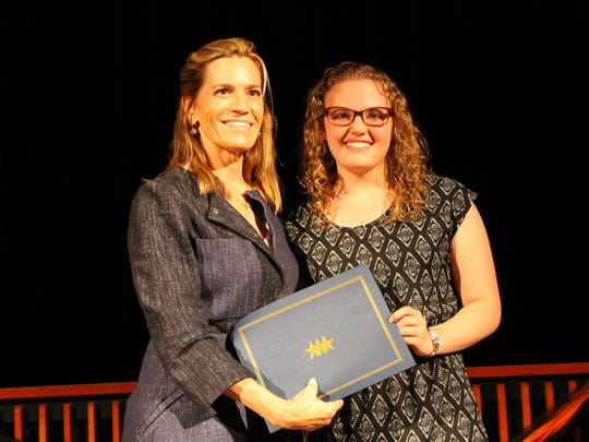 Laura Kohler and HVK recipient Kayla Lentz pose following the presentation ceremony at Plymouth High School on May 18.