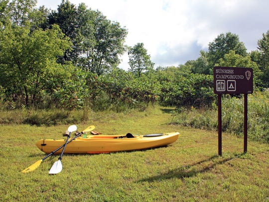A rustic campground at the Sunrise Ferry Landing on the St. Croix River provides a handful of campsites for paddlers.