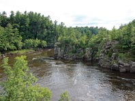 The St. Croix River cuts through a basalt gorge known as the Dalles of the St. Croix in St. Croix Falls. The dramatic rock walls are part of Interstate State Park Ñ both on the Wisconsin and Minnesota sides of the river.