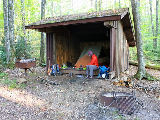 A shelter along the North Country Trail west of the Penokee Mountain Ski Trails includes a grill and fire ring.