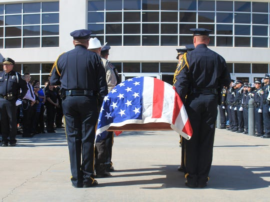 Alamogordo Police Officers, almost all serving on the same shift as Officer Clint Corvinus, served as pallbearers during his funeral Saturday.