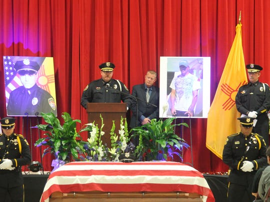 """Alamogordo Police Chief Daron Syling gave one last message to Corvinus during the funeral saying, """"Clint, you fulfilled your duty and you did it with pride. There will never be any doubt you did your best work. Your work here is finished. You may rest now. We have watch from here."""""""