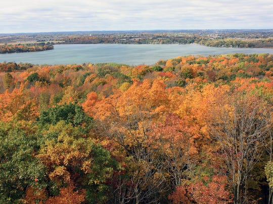 The observation tower at Pike Lake provides views of the lake and the surrounding forest.