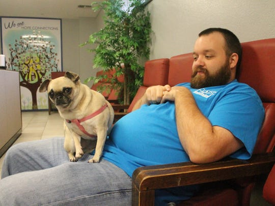"""Andrew Ameen brings his 4 year old """"Pugsley"""" to work"""