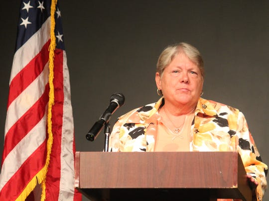Democratic candidate Susan Wheatley who is running for the Otero County Magistrate Judge Division I seat discussed her qualifications for the magistrate judge seat at the Otero County Conservatives special meeting Thursday evening at the Historic Sands Theater.