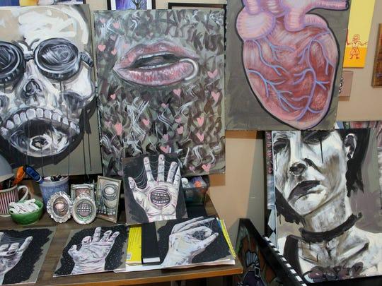 A collection of paintings by Amanda Roe.