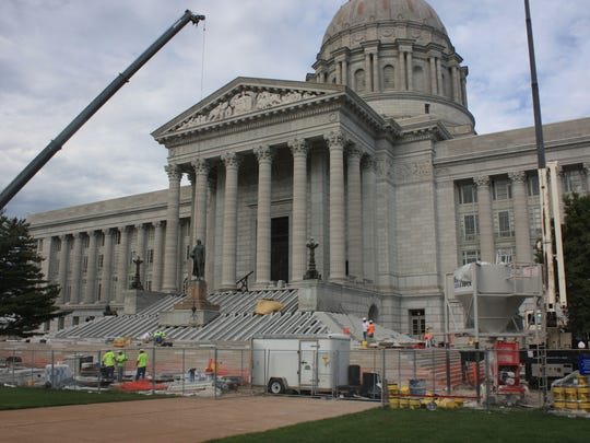 Napoleon Gray marble from Phenix Marble Co. was used in the original construction of the Missouri Capitol and has been used again in the renovation. Phenix Marble has been revived and is now a subsidiary of Conco Companies.