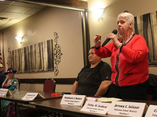 Stephanie Dubois, candidate for the Tularosa Board of Education, participates in a panel discussion during the Republican Party of Otero County's meeting.