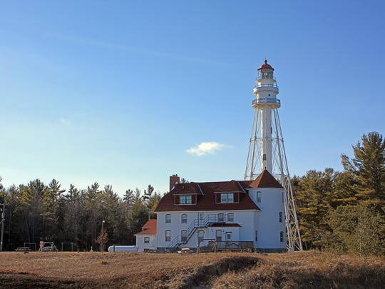 The Rawley Point Lighthouse at Point Beach State Forest was built in 1894 and is the oldest octagonal skeletal lighthouse on the Great Lakes.