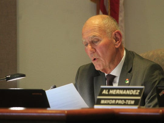 Alamogordo Mayor Richard Boss read a personal statement at Tuesday's City Commission meeting stating his disapproval of the deep borehole project. Boss said his comments were on his behalf and not the rest of the City Commission.