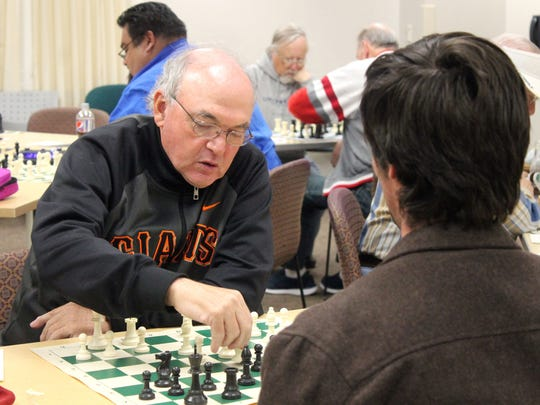 Matt Grinberg, Alamogordo resident, makes a move during this game with Vaughan Heussenstamm. Grinberg is a three time New Mexico Senior Champion.