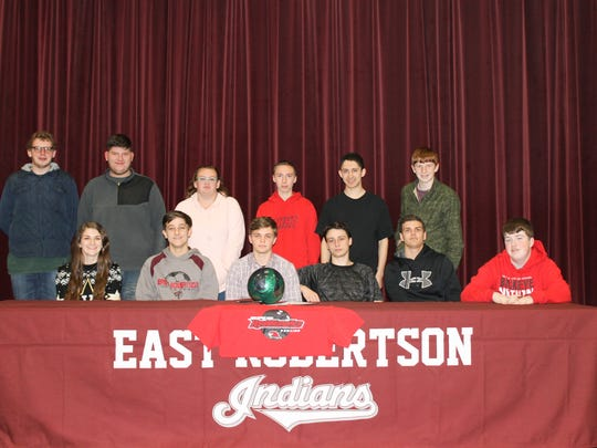 East Robertson High School senior Drew White recently signed a 4-year bowling scholarship with Martin Methodist.