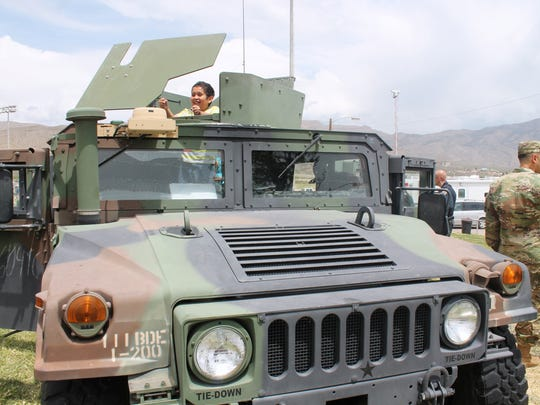 In this 2016 file photo, Joans Morris, 10, gets to climb around a Humvee during the 39th annual Military Appreciation Day.