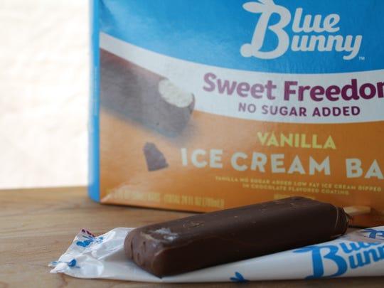 Blue Bunny Sweet Freedom ice cream bars, 110 calories, 11g carbs.