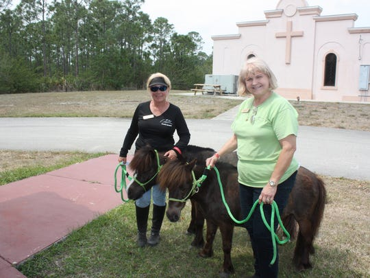 Board members Bobbi Martin and Elaine Hines brought the two mini-horses to meet the guests.