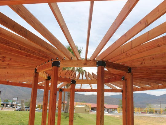 The library's new pergola will provide partial shade during outdoor programs.