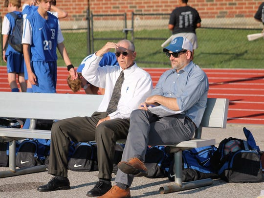 Wyoming soccer coach Steve Thomas, left, coached the Cowboys first game wearing one of Otto Warmbier's ties. Warmbier was a midfielder for Wyoming.