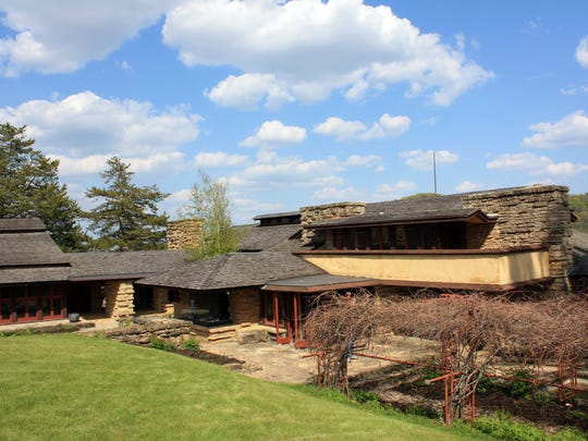 "Wisconsin architect Frank Lloyd Wright built Taliesen, which means ""shining brow"" in Welsh, just below the brow of a hill in the rolling countryside outside of Spring Green."