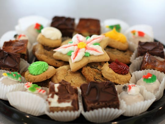 Sara Patterson at Rita's Bakery recommends assorted trays or holiday boxes filled with brownie bites, cookies, thumbprint and iced sugar cookies as an easy option for parties.