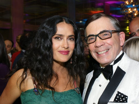 """Salma Hayek, who presented the Vanguard Award to the cast and director of """"The Shape of Water"""" and Palm Springs Mayor Rob Moon enjoy the After Party at the Parker Hotel."""