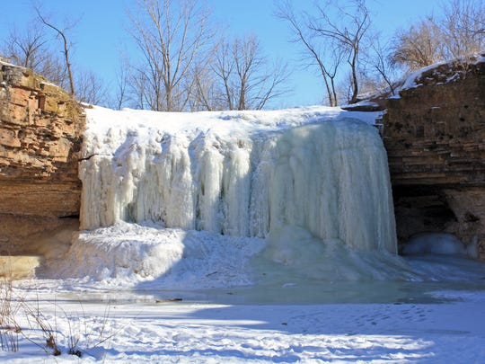 The waterfall at Fonferek's Glen near Green Bay isn't much to look at in the summer, but in winter the trickling water forms a beautiful frozen cascade.