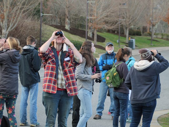 Participants help count birds at the North Carolina