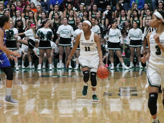 Senior Imani Watkins brings the ball upcourt during