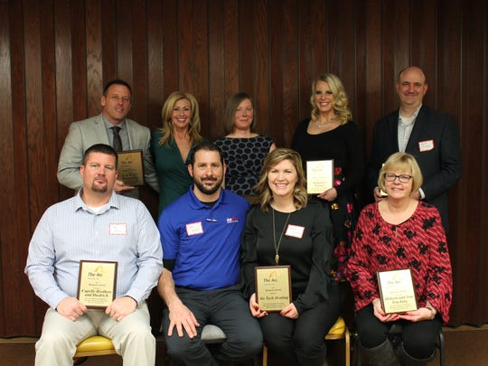 Pictured are those honored with the Business Award, front row, from left: Capelle Brothers Diedrich, Adam Osier; Air Tech Heating, Jim and Sarah Price; and Osborn & Son Trucking, Sandy Osborn; back row: L & H Gyr, Joel and Kristine Newhouse; Ideal Chiropractic, Dr. Jessica Serwe; Autumn Closet, Autumn Kastein; and Grande Cheese, Ryan Cropper.