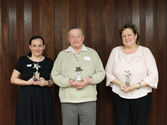 Pictured are those honored with the Star Employee of the Year Award, from left: Erica Teske, Del Jerome and Kellie Krepsky.